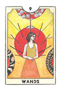 Nine of Wands Tarot card in New Chapter deck