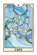 Three of Cups Tarot card in New Chapter deck