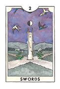 Two of Swords Tarot card in New Chapter deck