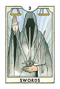 Three of Swords Tarot card in New Chapter deck