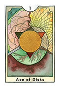Ace of Disks Tarot card in New Chapter deck