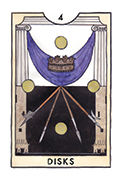 Four of Disks Tarot card in New Chapter deck