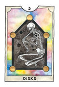 Five of Disks Tarot card in New Chapter deck