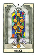 Eight of Disks Tarot card in New Chapter deck
