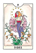 Nine of Disks Tarot card in New Chapter deck