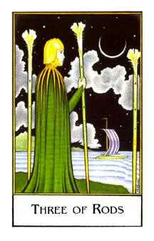 Three of Rods Tarot Card - The New Palladini Tarot Deck