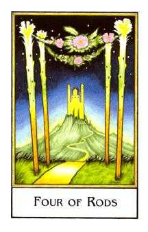 Four of Staves Tarot Card - The New Palladini Tarot Deck