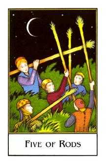 Five of Staves Tarot Card - The New Palladini Tarot Deck