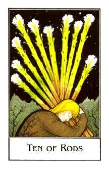 Ten of Batons Tarot Card - The New Palladini Tarot Deck