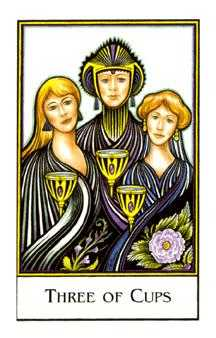 Three of Bowls Tarot Card - The New Palladini Tarot Deck