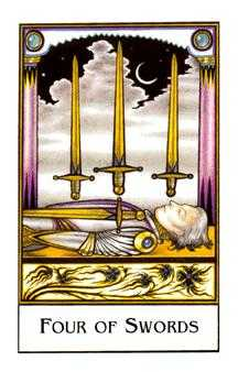 Four of Bats Tarot Card - The New Palladini Tarot Deck