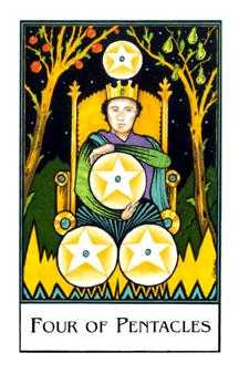 Four of Pumpkins Tarot Card - The New Palladini Tarot Deck