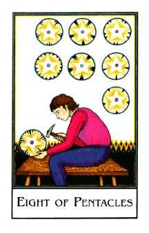 Eight of Coins Tarot Card - The New Palladini Tarot Deck