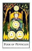Four of Pentacles Tarot card in The New Palladini Tarot deck