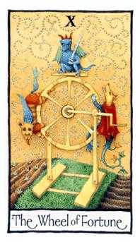 Wheel of Fortune Tarot Card - Old English Tarot Deck