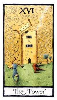 The Falling Tower Tarot Card - Old English Tarot Deck