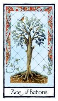 Ace of Batons Tarot Card - Old English Tarot Deck