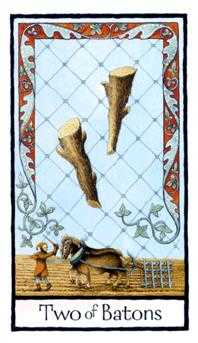Two of Batons Tarot Card - Old English Tarot Deck