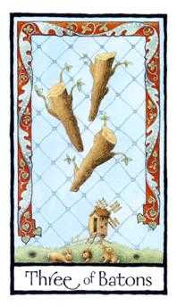 Three of Batons Tarot Card - Old English Tarot Deck