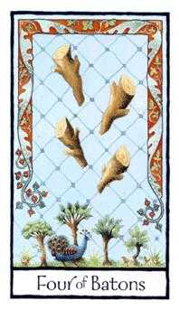Four of Rods Tarot Card - Old English Tarot Deck