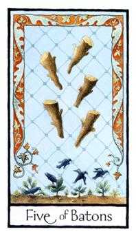 Five of Sceptres Tarot Card - Old English Tarot Deck