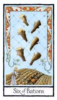 Six of Batons Tarot Card - Old English Tarot Deck