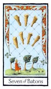 Seven of Staves Tarot Card - Old English Tarot Deck
