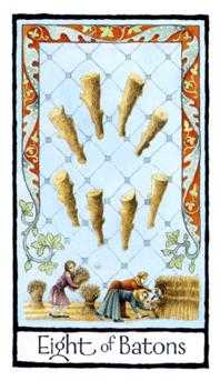 Eight of Batons Tarot Card - Old English Tarot Deck