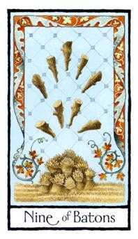 Nine of Staves Tarot Card - Old English Tarot Deck