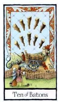 Ten of Staves Tarot Card - Old English Tarot Deck