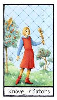 Daughter of Wands Tarot Card - Old English Tarot Deck