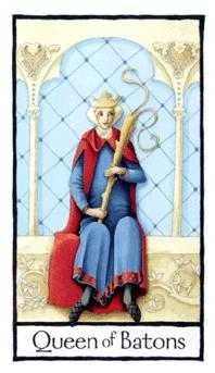 Queen of Staves Tarot Card - Old English Tarot Deck