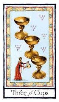 Three of Cups Tarot Card - Old English Tarot Deck