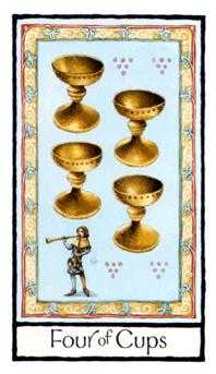 Four of Bowls Tarot Card - Old English Tarot Deck