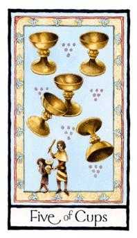 Five of Bowls Tarot Card - Old English Tarot Deck