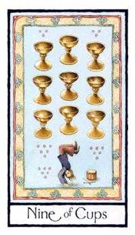 Nine of Cauldrons Tarot Card - Old English Tarot Deck
