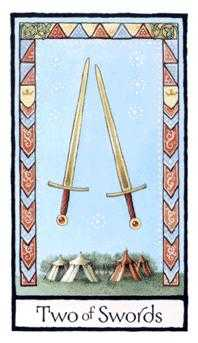 Two of Wind Tarot Card - Old English Tarot Deck