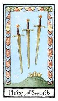 Three of Wind Tarot Card - Old English Tarot Deck