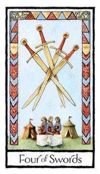 Four of Arrows Tarot Card - Old English Tarot Deck