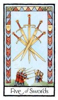 Five of Wind Tarot Card - Old English Tarot Deck
