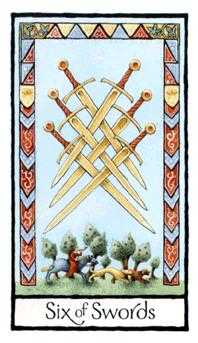 Six of Wind Tarot Card - Old English Tarot Deck