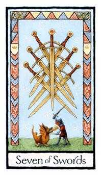 Seven of Swords Tarot Card - Old English Tarot Deck