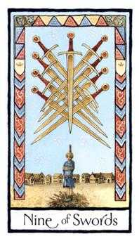 Nine of Wind Tarot Card - Old English Tarot Deck