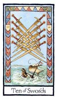 Ten of Wind Tarot Card - Old English Tarot Deck