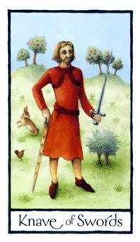 Page of Spades Tarot Card - Old English Tarot Deck