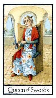 Priestess of Swords Tarot Card - Old English Tarot Deck
