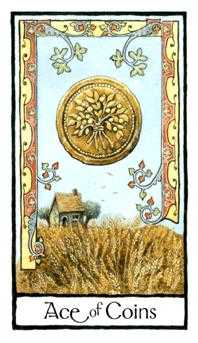 Ace of Pentacles Tarot Card - Old English Tarot Deck