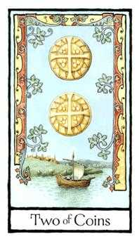 Two of Pentacles Tarot Card - Old English Tarot Deck