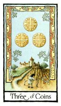 Three of Coins Tarot Card - Old English Tarot Deck