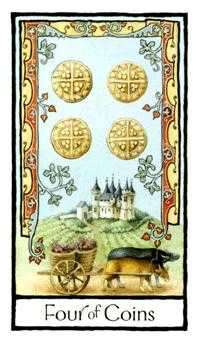 Four of Coins Tarot Card - Old English Tarot Deck